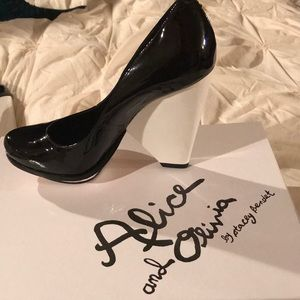 Alice and Olivia Patent Leather Black/White Pumps